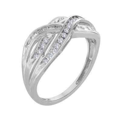 1/3 CT. T.W. Diamond 10K White Gold Crossover Ring