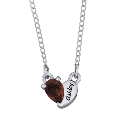 Personalized Girls Heart Birthstone Pendant Necklace