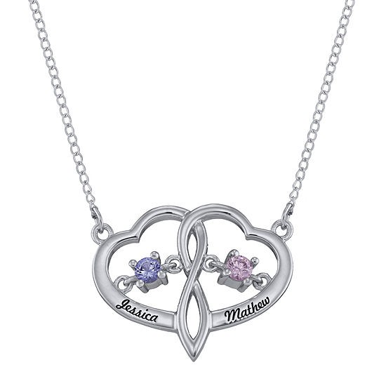 Personalized Dancing Birthstone Heart Pendant Necklace