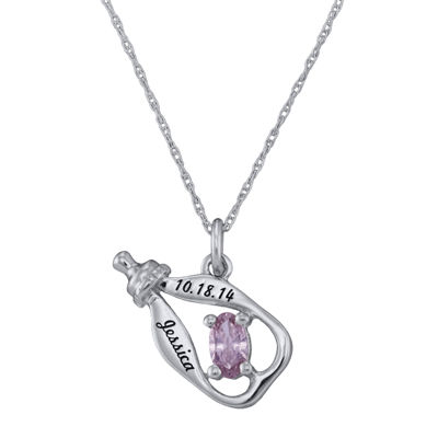 Personalized Girls Birthstone Bottle Pendant Necklace