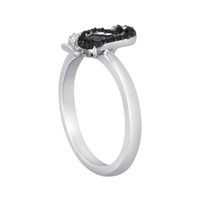 1/10 CT. T.W. White and Color-Enhanced Black Diamond Sterling Silver Penguin Ring