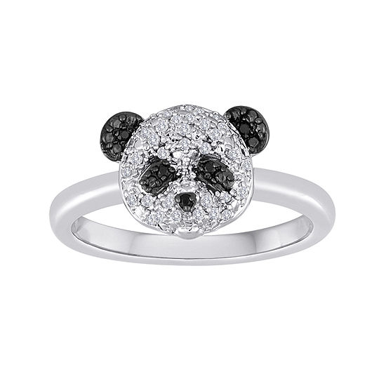 1/10 CT. T.W. White and Color-Enhanced Black Diamond Sterling Silver Panda Ring