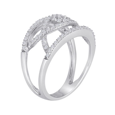 diamond blossom 1/2 CT. T.W. Diamond Sterling Silver Open Orbit Ring