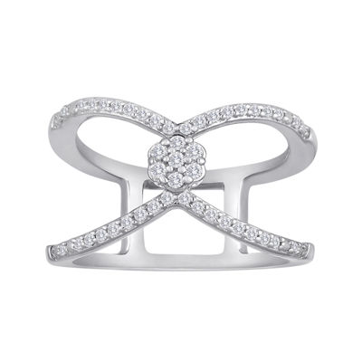 diamond blossom 1/4 CT. T.W. Diamond Sterling Silver Floating Ring
