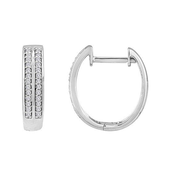 1 10 Ct Tw Diamond Sterling Silver 18mm Hoop Earrings