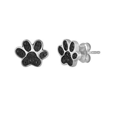 1/10 CT. T.W. Color-Enhanced Black Diamond Paw Print Earrings