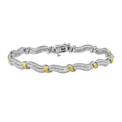 1/3 CT. T.W. Diamond 14K Yellow Gold Over Sterling Silver Wave Bracelet