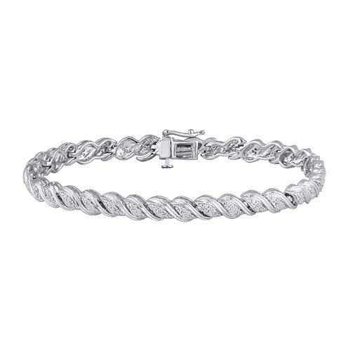 1/4 CT. T.W. Diamond Sterling Silver Bracelet