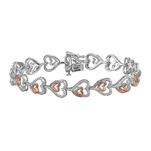 ForeverMine® 1/4 CT. T.W. Diamond 14K Rose Gold Over Sterling Silver Heart Bracelet