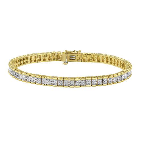 1/4 CT. T.W. Diamond 14K Yellow Gold Over Sterling Silver Bracelet