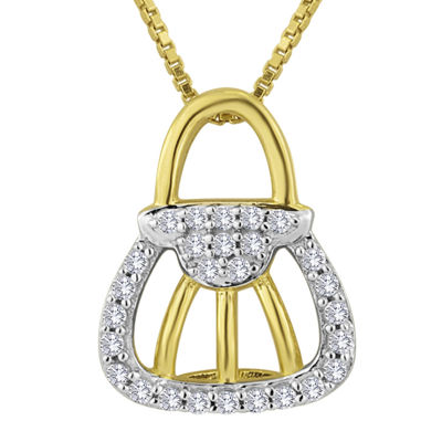1/10 CT. T.W. Diamond 14K Yellow Gold Over Sterling Silver Pendant Necklace