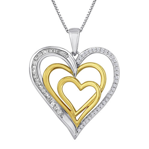 ForeverMine® 1/4 CT. T.W. Diamond 14K Rose Gold Over Sterling Silver Heart Necklace
