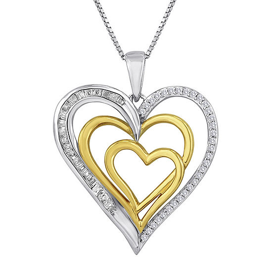 Forevermine 1 4 Ct Tw Diamond 14k Rose Gold Over Sterling Silver Heart Necklace