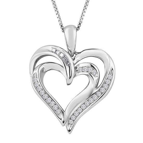 Sterling Silver 1/10 CT.T.W. Diamond Heart Pendant Necklace