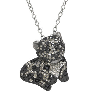 Animal Planet™ Crystal Sterling Silver Endangered Snow Leopard Pendant Necklace