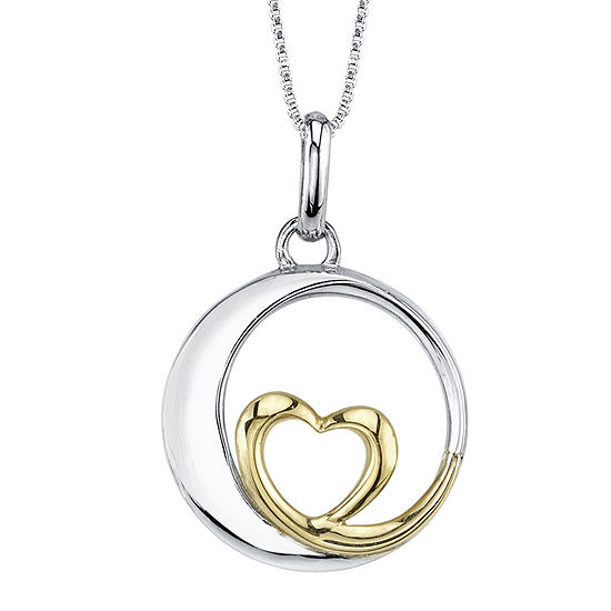 Inspired Moments™ Sterling Silver Love You to the Moon Heart Pendant Necklace