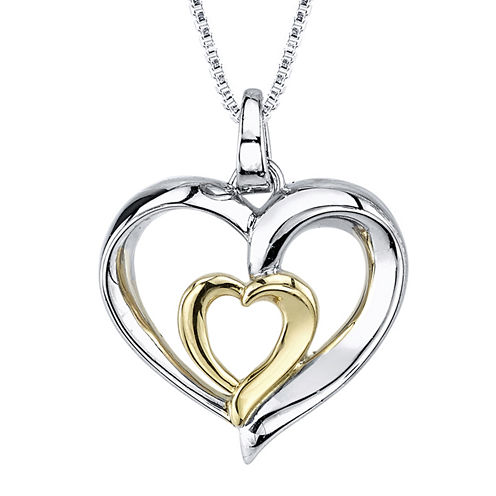Inspired Moments™ Sterling Silver Sisters Heart Pendant Necklace