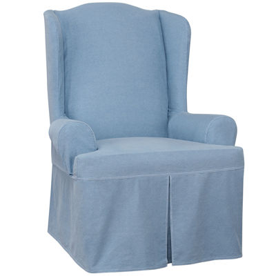 SURE FIT® Authentic Denim Wing Chair Slipcover