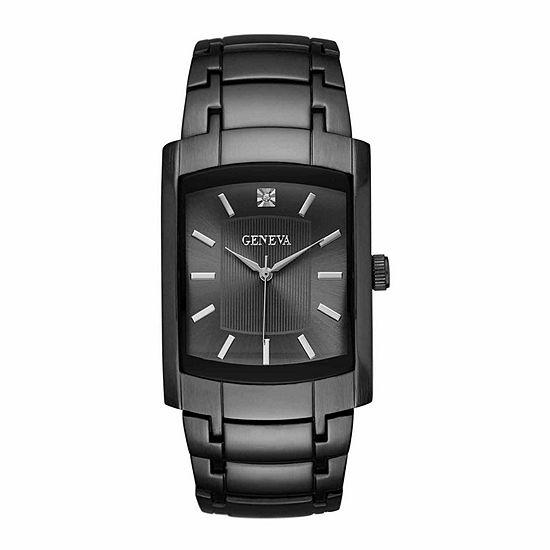 Geneva Mens Black Bracelet Watch