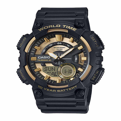 Casio Table Mens Gold Tone Strap Watch-Aeq110bw-9pb