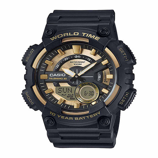 Casio Mens Gold Tone Strap Watch-Aeq110bw-9pb