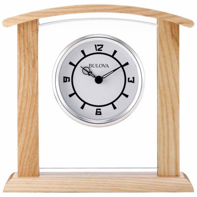 Bulova White Table Clock-B5016