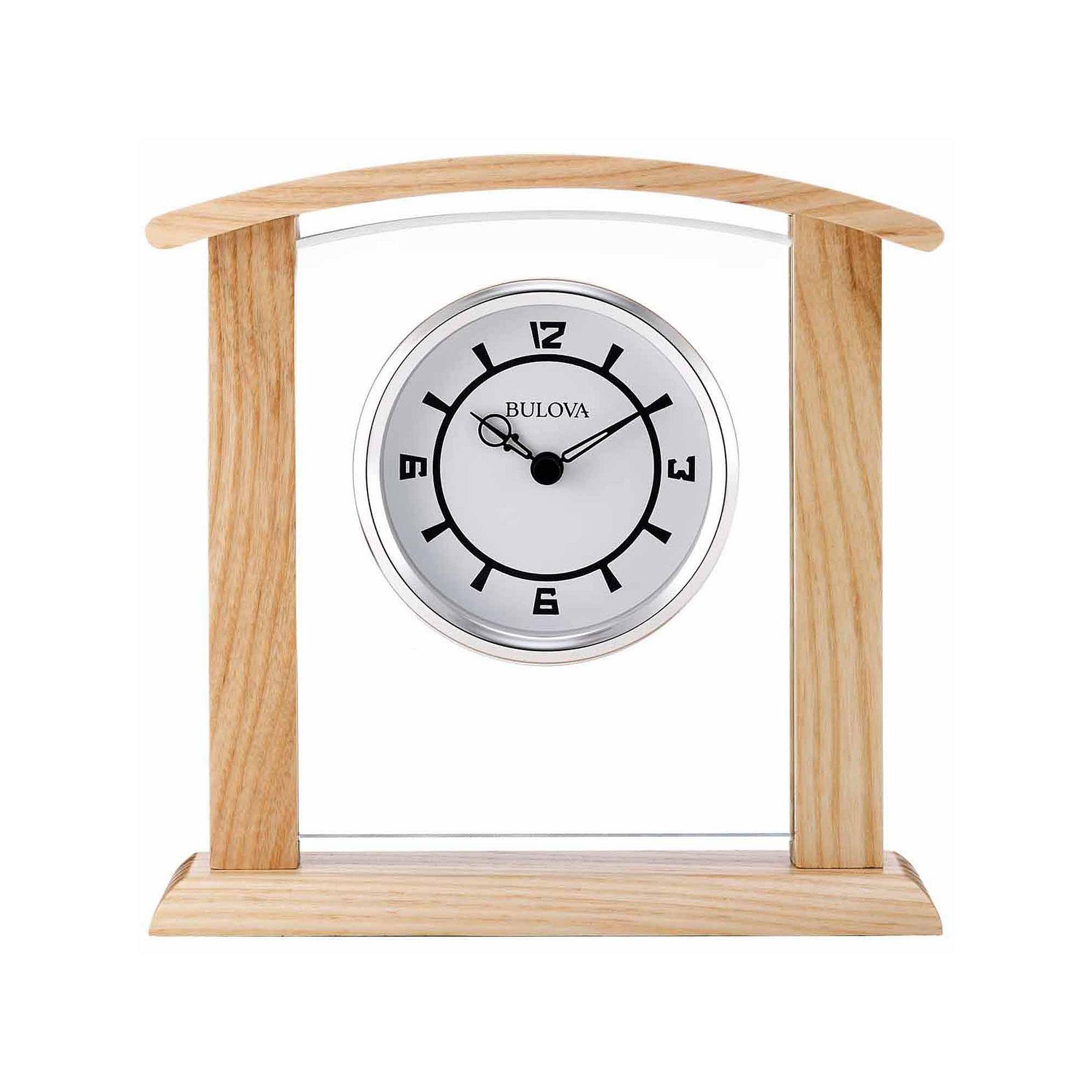 Bulova White Table Clock-B5016