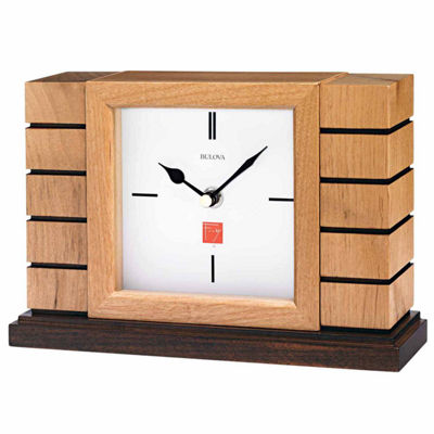 Bulova White Table Clock-B1659