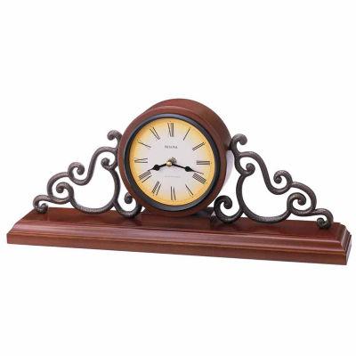 Bulova Strathburn Walnut Finish Mantel Clock-B1910