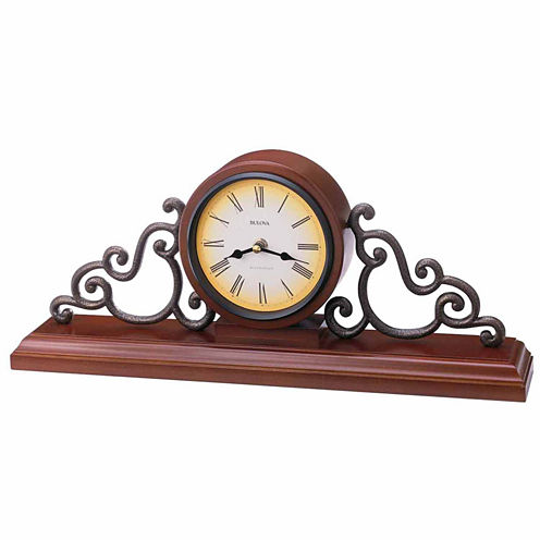 Bulova Strathburn Walnut Finish Mantel Clock-B1910