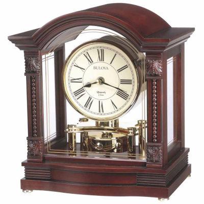 Bulova Bardwell Antique Walnut Finish Clock-B1987