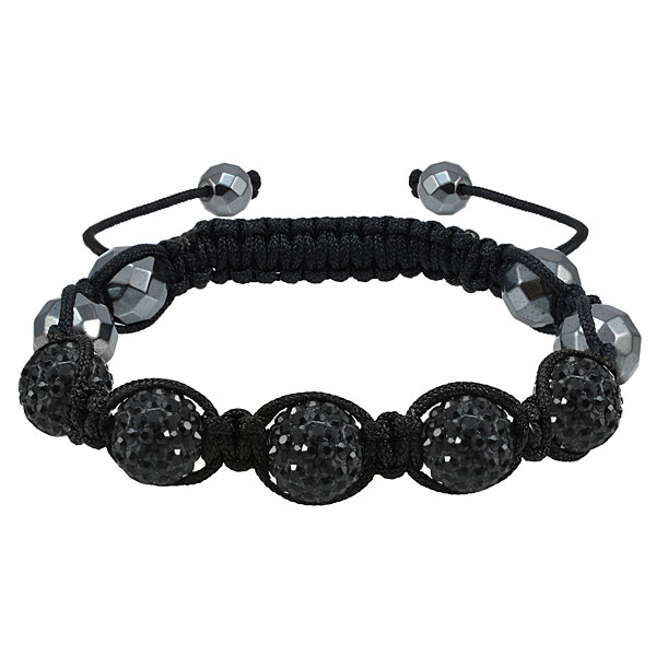 Sparkle Allure Womens Black Silver Over Brass Beaded Bracelet