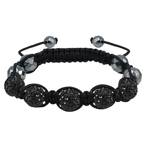 Sparkle Allure Womens Black Silver Over Brass Beaded Bracelet
