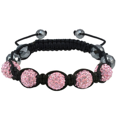Sparkle Allure Womens Pink Silver Over Brass Beaded Bracelet