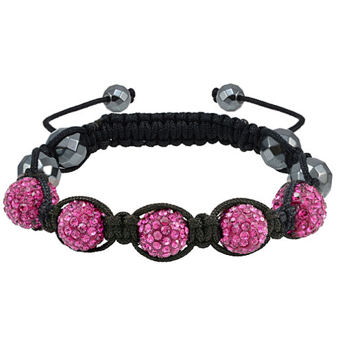 Sparkle Allure Pink Silver Over Brass Beaded Bracelet