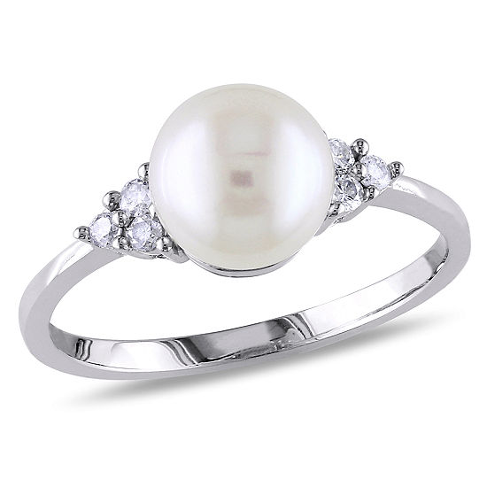 1/8 CT. T.W. Diamond And Cultured Freshwater Pearl 10K White Gold Ring