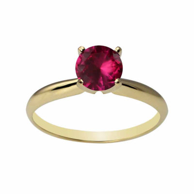 Womens Red Lab Created Ruby Solitaire Ring in 14K Gold