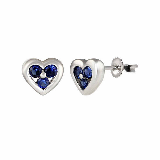 Lab Created Blue Sapphire Sterling Silver 6mm Heart Stud Earrings