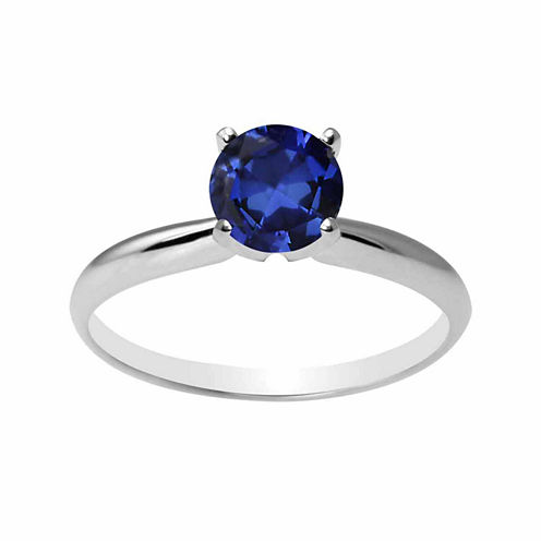 Womens Lab Created Blue Sapphire 14K Gold Solitaire Ring