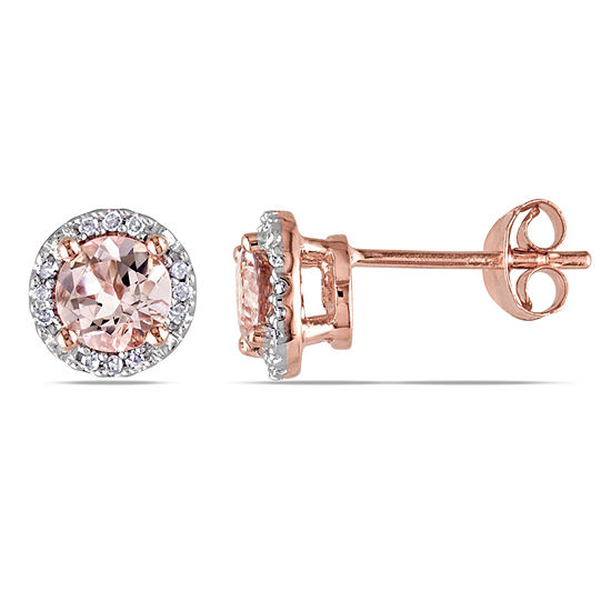 31527f251822b Pink Morganite & Diamond-Accent Stud Earrings