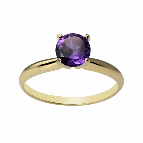 Womens Purple Amethyst 14K Gold Solitaire Ring