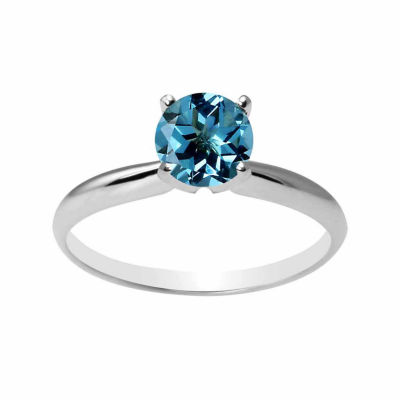 Womens Blue Blue Topaz 10K Gold Solitaire Ring