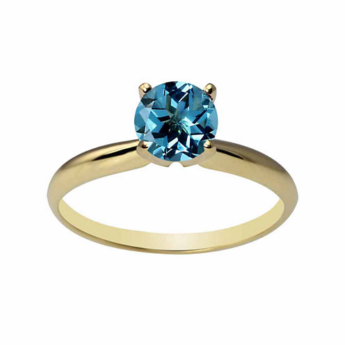Womens Blue Topaz 14K Gold Solitaire Ring