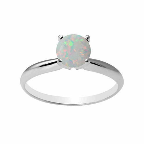 Womens Lab Created White Opal 10K Gold Solitaire Ring