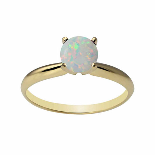 Womens Lab Created White Opal 14K Gold Solitaire Ring
