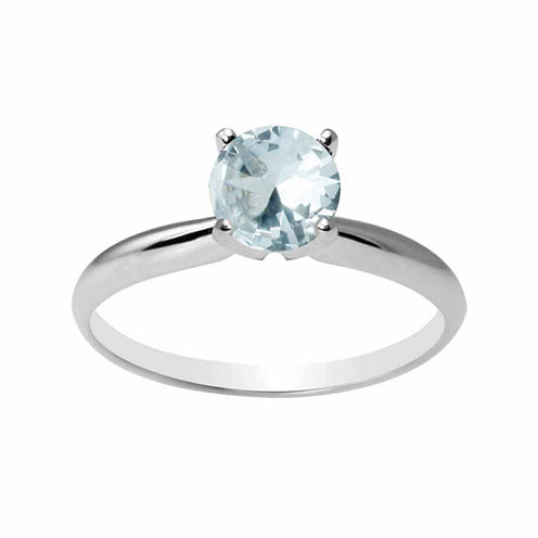 Womens Blue Aquamarine 14K Gold Solitaire Ring