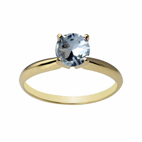 Womens Lab Created Blue Aquamarine 14K Gold Solitaire Ring