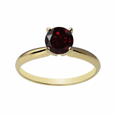 Womens Genuine Red Garnet 14K Gold Solitaire Ring