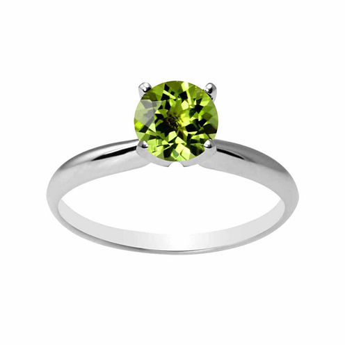 Womens Genuine Green Peridot 14K Gold Solitaire Ring