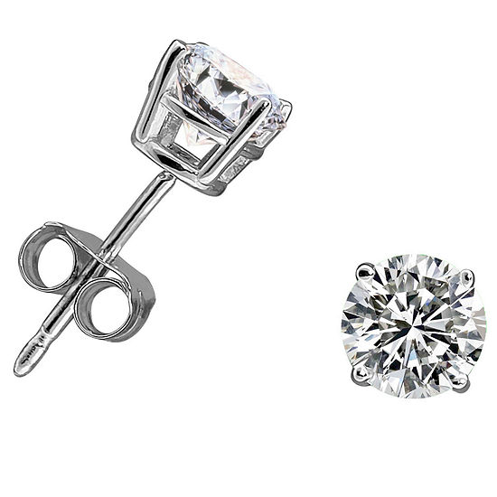 3/8 CT. T.W. Genuine White Diamond 14K White Gold 4.5mm Stud Earrings